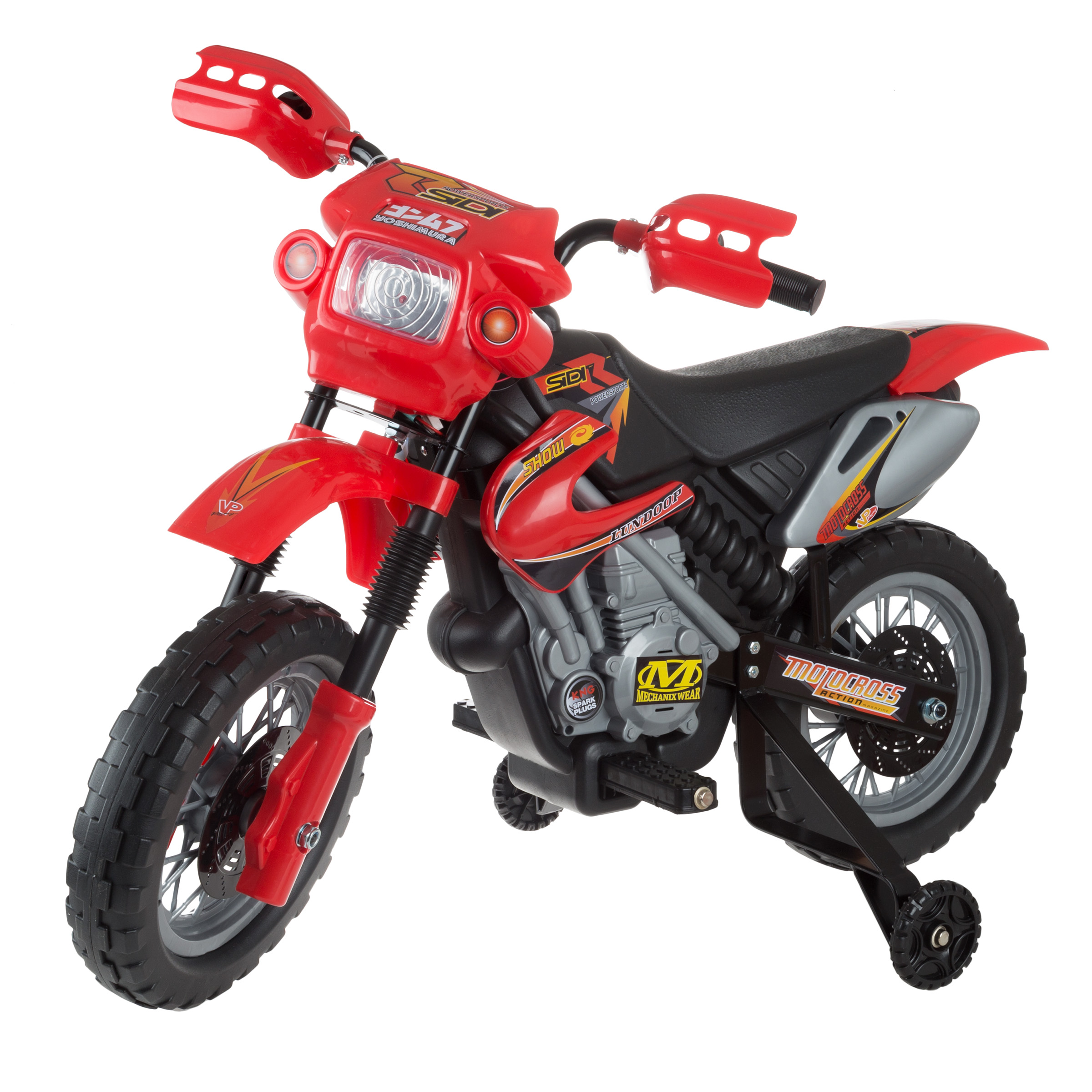 Kids Beginner Dirt Bike-Ride On Battery Powered Mini Motor Bike Toy with Training Wheels, Lights, and Sounds for Boys and Girls by LilÂ' Rider (Red)