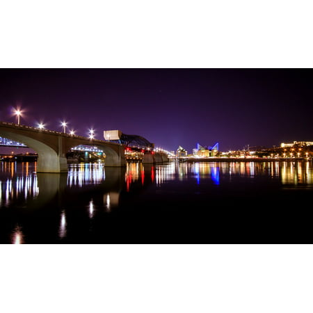 LAMINATED POSTER River Landscape Bridge Chattanooga Cityscape City Poster Print 24 x 36