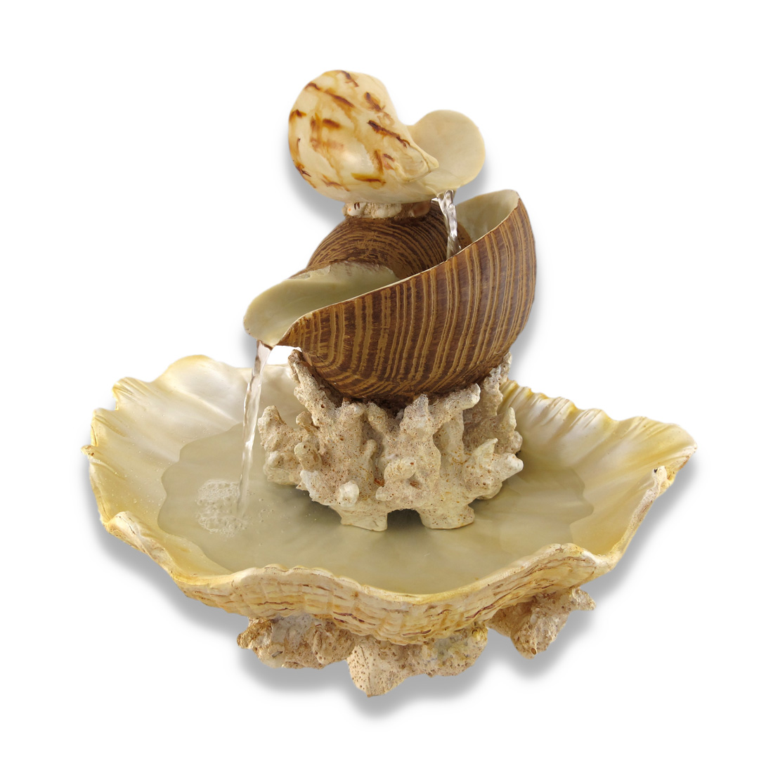 Sculpted Seashells and Coral Indoor Table Top Water Fountain ...