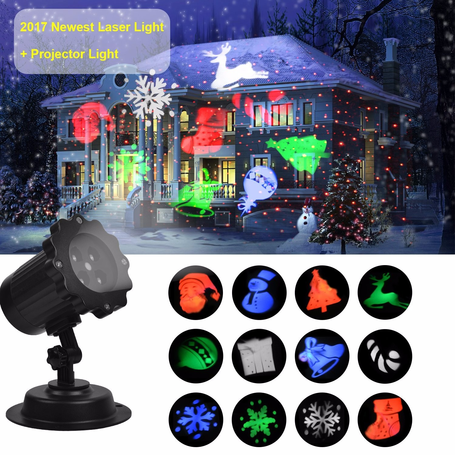 Christmas Laser Projector Light Bright Led Landscape Spotlight Indoor and Outdoor Waterproof Projection Led Lights for Christmas Decorations