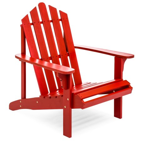 Adirondack Chair - Best Choice Products Outdoor Patio Acacia Wooden Adirondack Chair (Red)