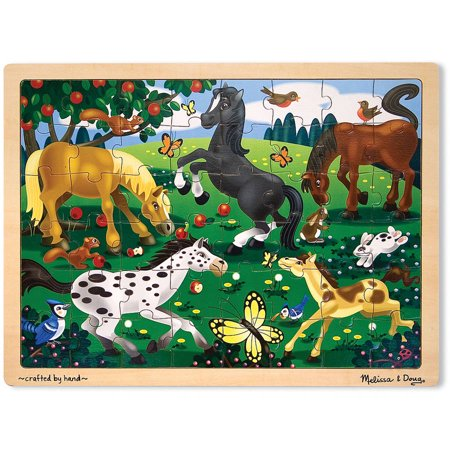 Horse Games And Puzzles (Melissa & Doug Frolicking Horses Wooden Jigsaw Puzzle With Storage Tray (48)