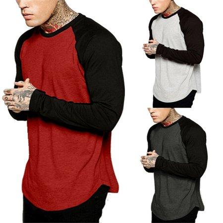 Men Baseball Long Sleeve T-Shirt Crew Fashion Sports Team Jersey Raglan Te e Muscle Tee T-shirt Casual Tops ()