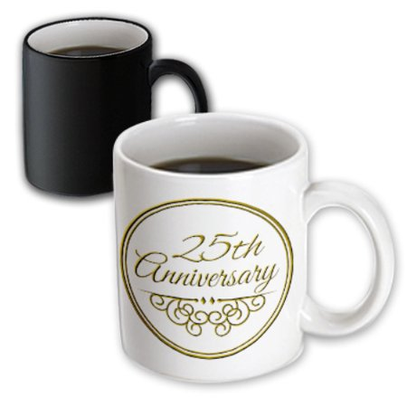 3dRose 25th Anniversary gift - gold text for celebrating wedding anniversaries - 25 years married together, Magic Transforming Mug,
