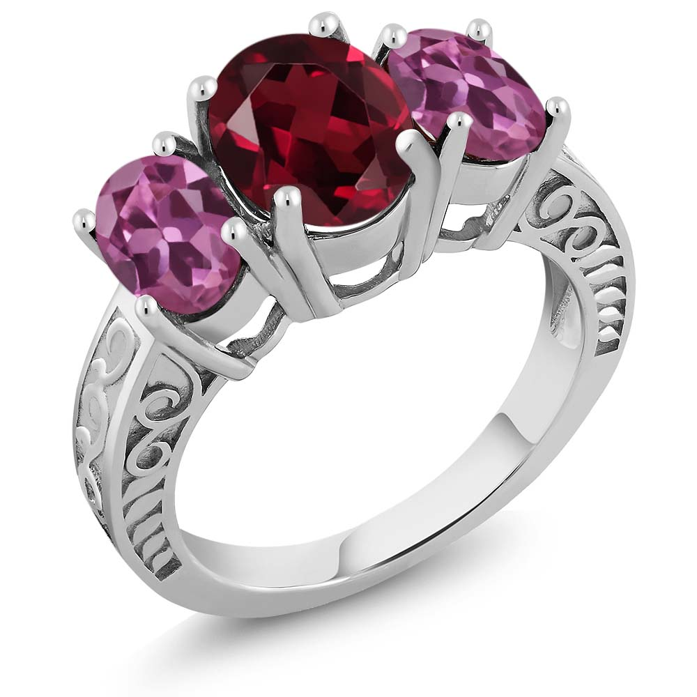 3.90 Ct Oval Red Rhodolite Garnet Pink Tourmaline 925 Sterling Silver Ring by