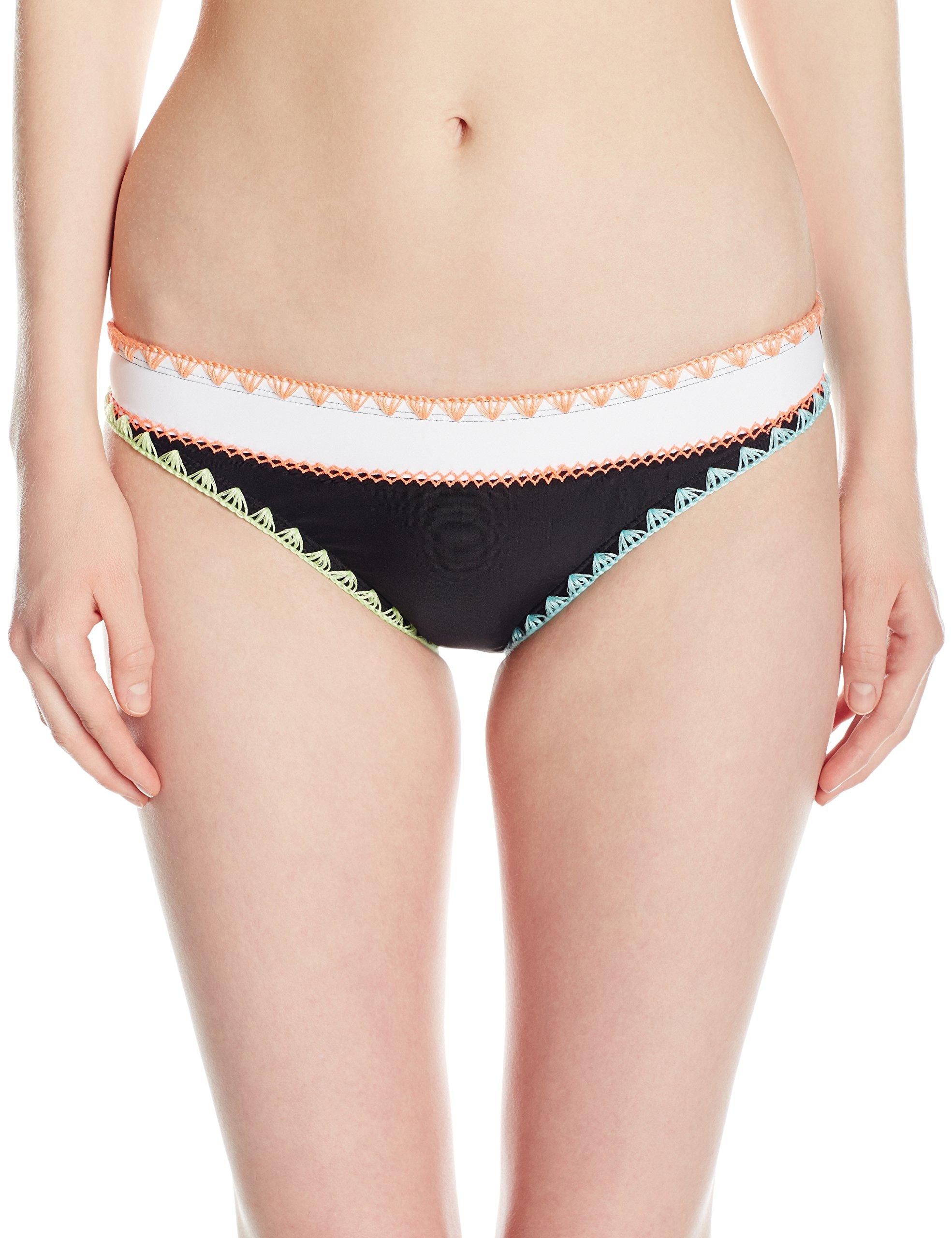 Hobie Junior's Keep The Piece Whip Stitch Hipster Bikini Bottom, Black/White, M