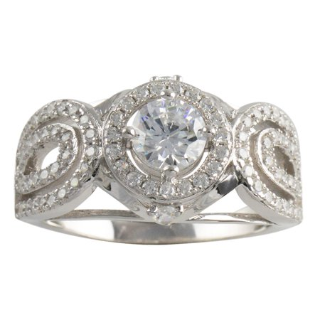Sterling Silver Halo CZ Womens Band 925 Ladies Ring Size 5