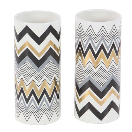 Decmode Set of Two - 9 Inch Modern Ceramic Zigzag-Patterned Cylindrical Ceramic Vases, White ()