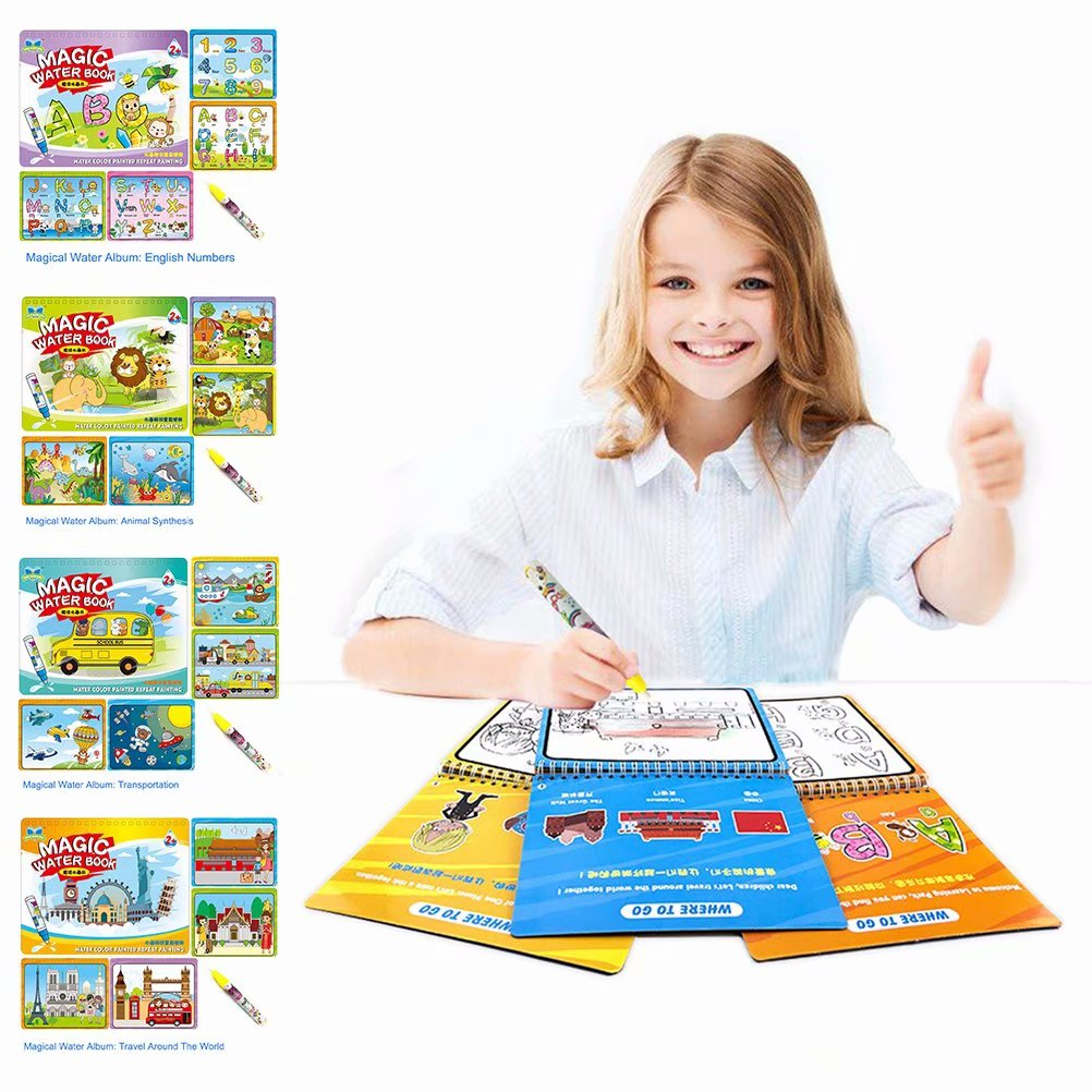 Akoyovwerve Children Magic Coloring Painting Drawing Book with Water Drawing Pen Kids Early Educational Learn Toy Water Coloring Book Kids Coloring Book, Size A