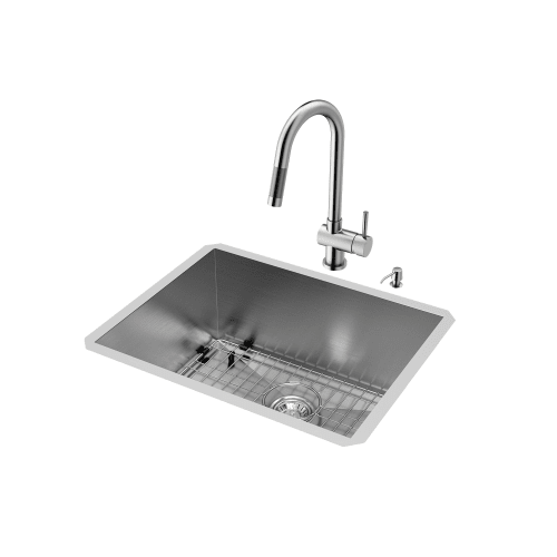 "Vigo All-in-1 23"" Undermount Stainless Steel Kitchen Sink and Faucet Set"