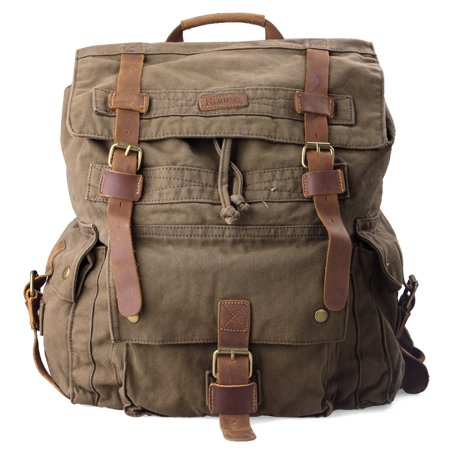 Kattee Men's Leather Canvas Backpack Large School Bag Travel Rucksack (Army Green) ()
