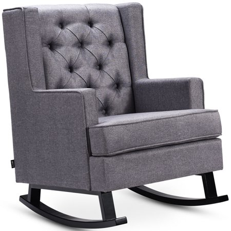 Costway Mid-Century Retro Fabric Upholstered Button-Tufted Wingback Rocking Chair -