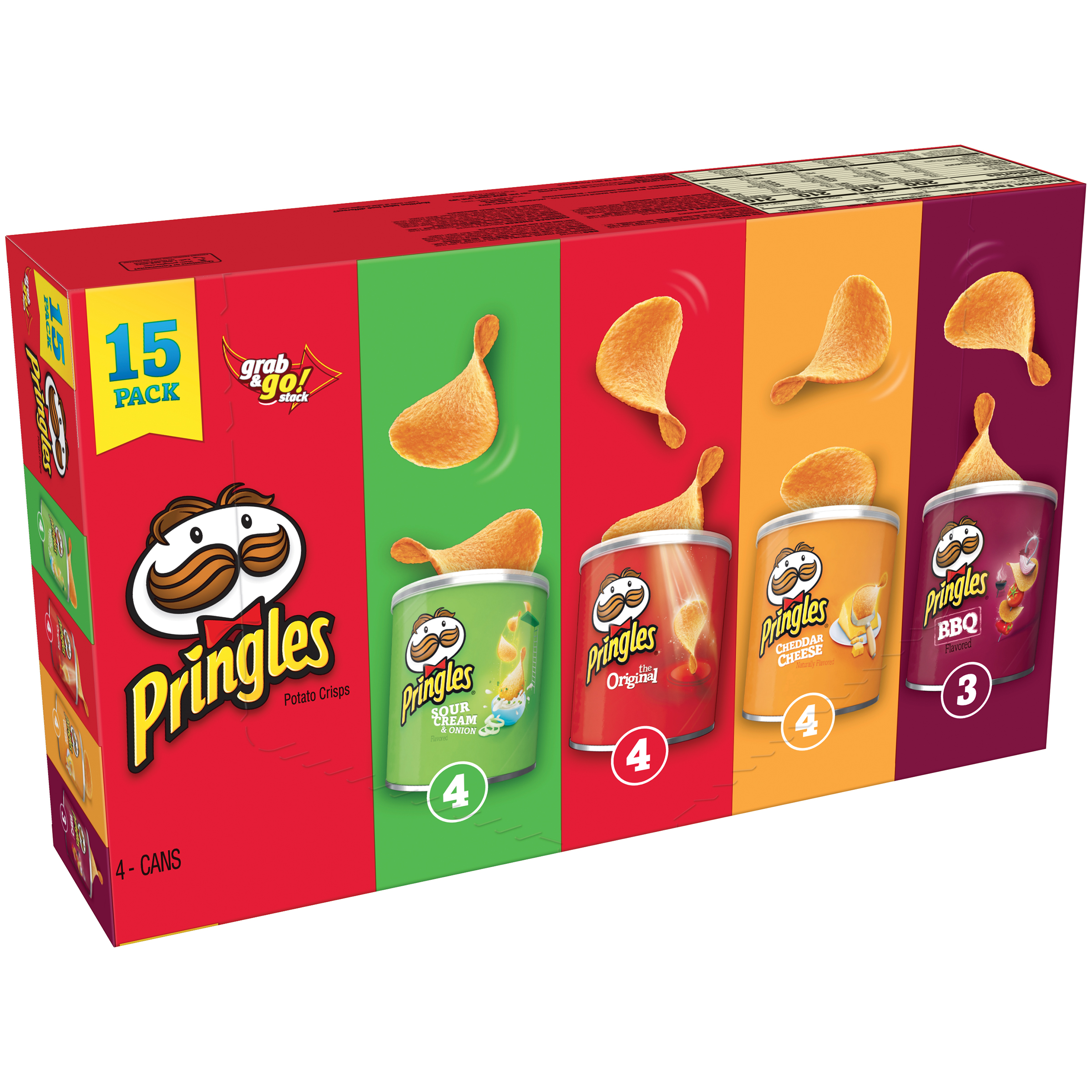 Pringles Sour Cream & Onion, The Original, Cheddar Cheese & BBQ Potato Crisps Variety Pack 15 Ct 20.6 oz