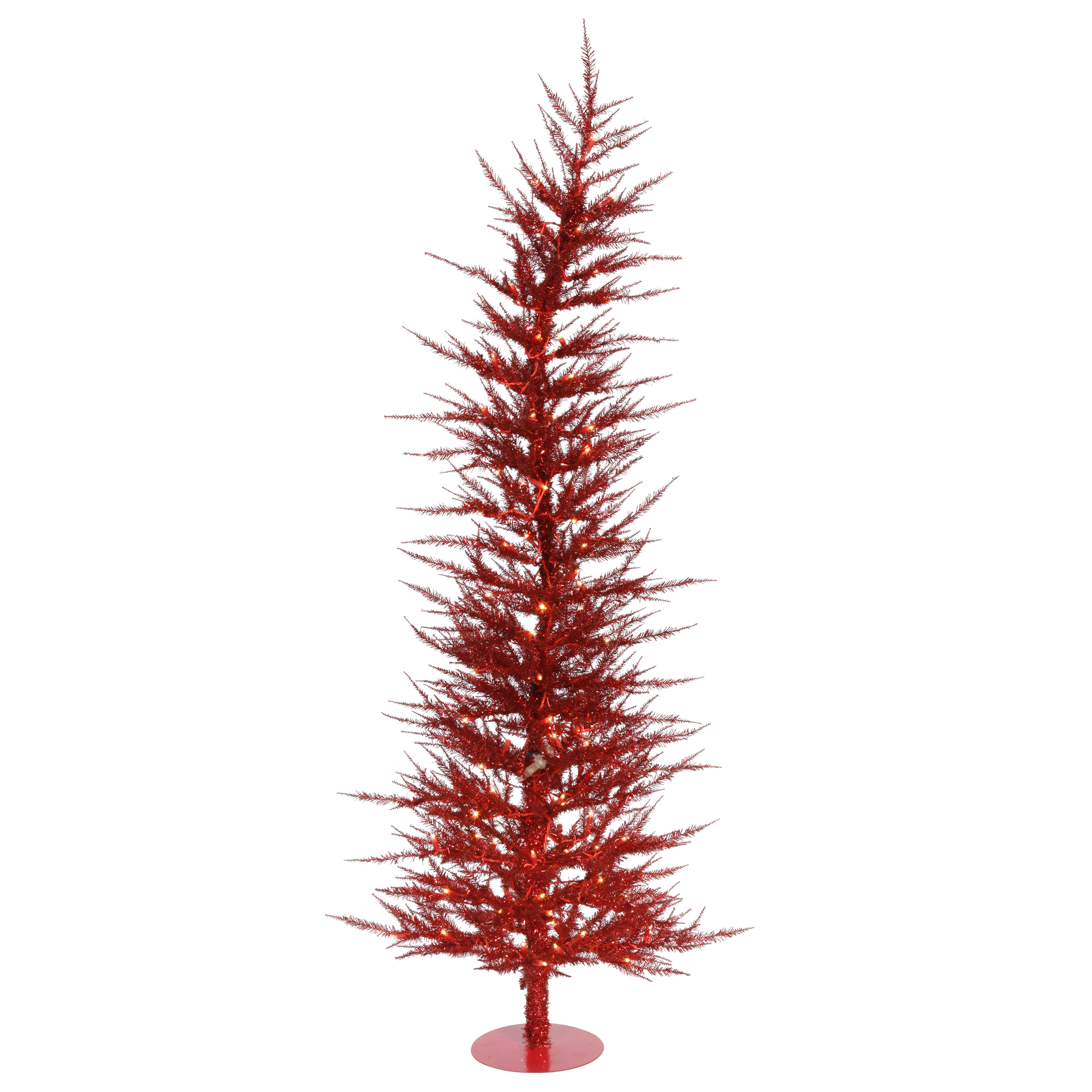"Vickerman Artificial Christmas Tree 6' x 26"" Red Laser Tree Dura-lit 150 Red Lights"
