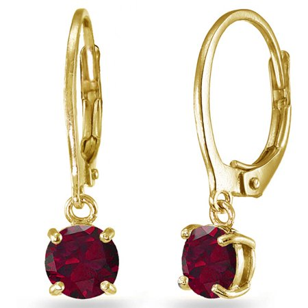 Created Ruby Yellow Gold Flashed Sterling Silver 6mm Round Dangle Leverback Earrings Created Ruby Leverback Earrings