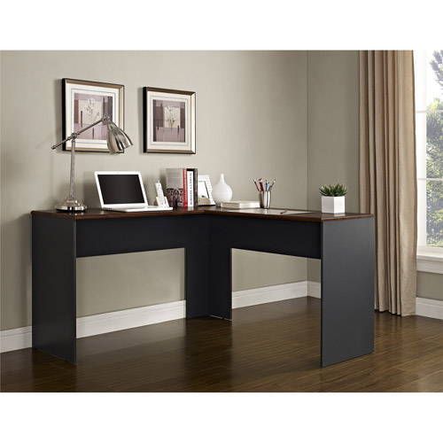 Altra Furniture The Works Contemporary L-Shaped Desk, Cherry/Slate Gray