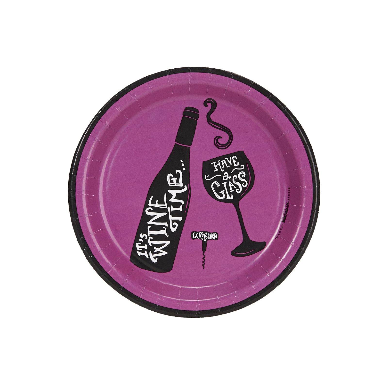 """Wine Time Party Purple 7"""" Cocktail Plates (8)"""