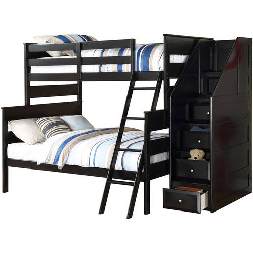 Acme Alvis Twin Over Full Wood Bunk Bed With Storage Black