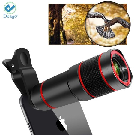 Deago HD 12X Optical Zoom Telescope Camera Lens Clip On Binocular Photography For iPhone Samsung Cell