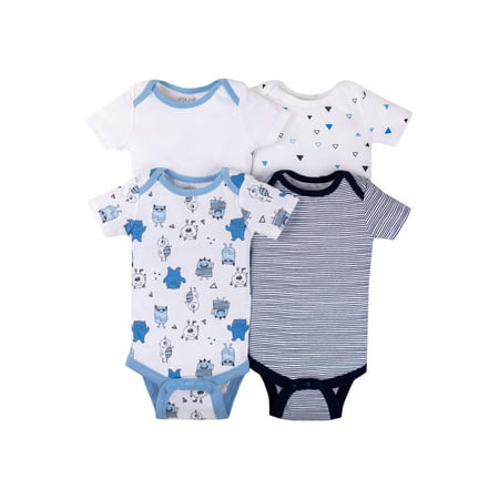 Short Sleeve Bodysuits, 4-pack (Baby Boys) - Mens Bodysuit