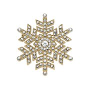 """Round Crystal Holiday Snowflake Pin in Gold Tone 1.75"""""""