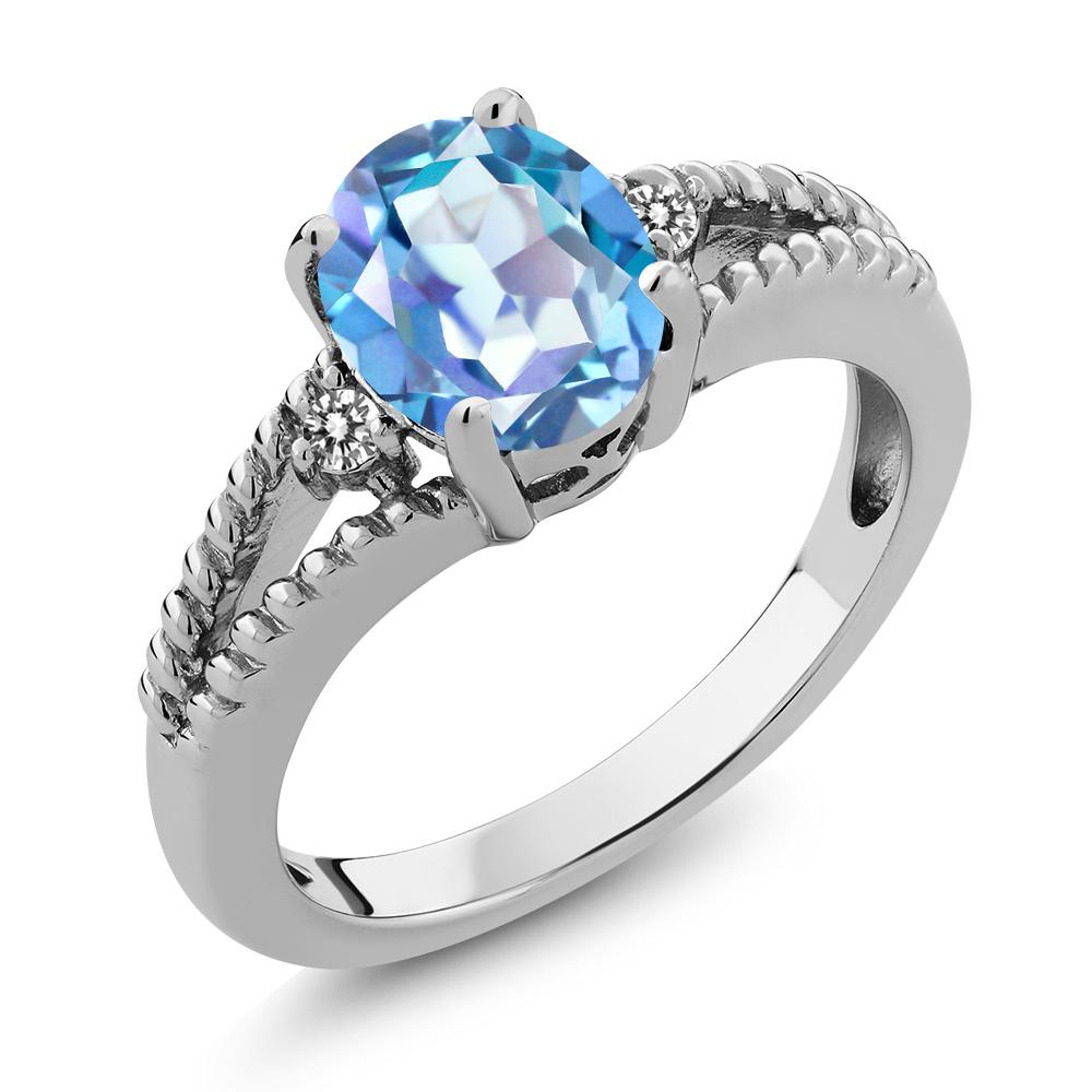 2.34 Ct Oval Millenium Blue Mystic Quartz and Diamond 18k White Gold Ring
