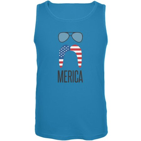 Merica Sunglasses and Mustache Turquoise Adult Tank - Turquoise Sunglasses