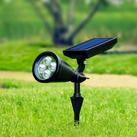 - Reactionnx 2Pcs Solar Spotlight Landscape Light, 4 Led Single Color Bright and Dark Sensor Solar Garden Lights for The Patio, Pathway,Lawn Garden Tree Waterproof Security Outdoor, White Light