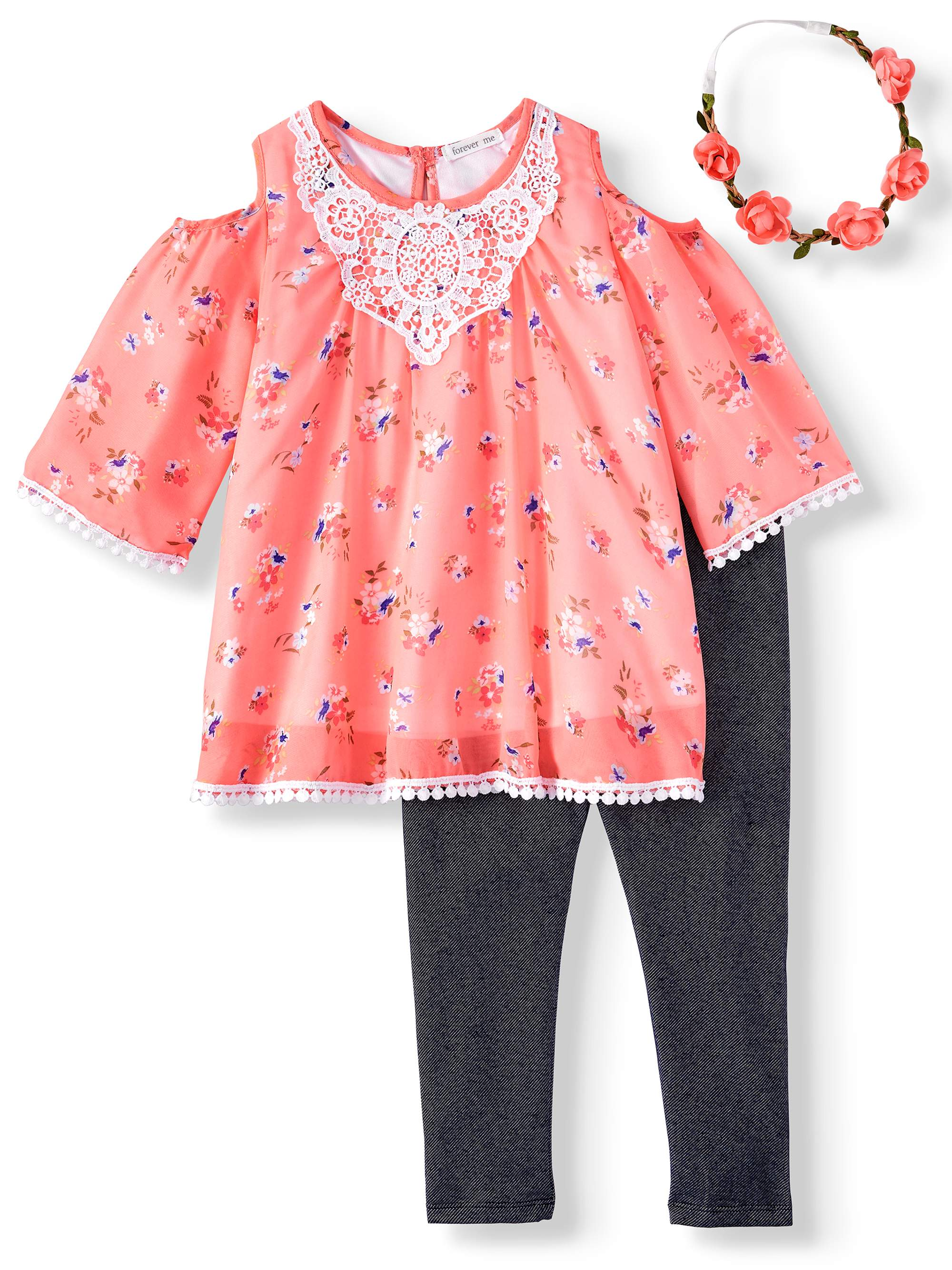 Cold Shoulder Floral Chiffon Top and Legging, 2-Piece Outfit Set with Headband (Little Girls & Big Girls)