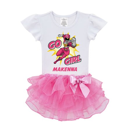 Personalized Power Rangers Go Toddler Girls' Pink Ranger Tutu Tee - 2T, 3T, 4T, 5/6T - Pink Power Range
