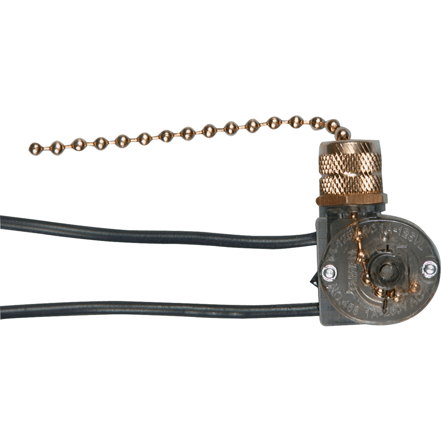 Cooper BP458BD Brass Single Pole Pull Chain Canopy Switch