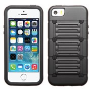 For iPhone 5s/5 Black Raised Dots Cutout Advanced Armor Stand Protector Cover