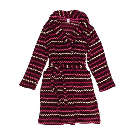 Womens Plush Burgundy & Pink Stripe Bathrobe Bath Robe Housecoat