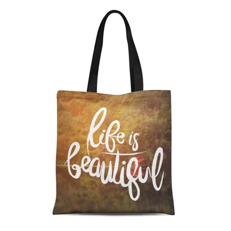 KDAGR Canvas Tote Bag Inspirational Life Is Beautiful of Water Drops Shallow Durable Reusable Shopping Shoulder Grocery -