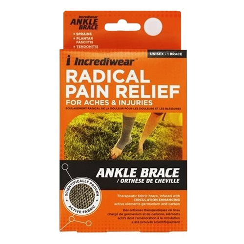 Incrediwear Radical Pain Relief Ankle Brace, Large, Grey in Color, 1 Ea