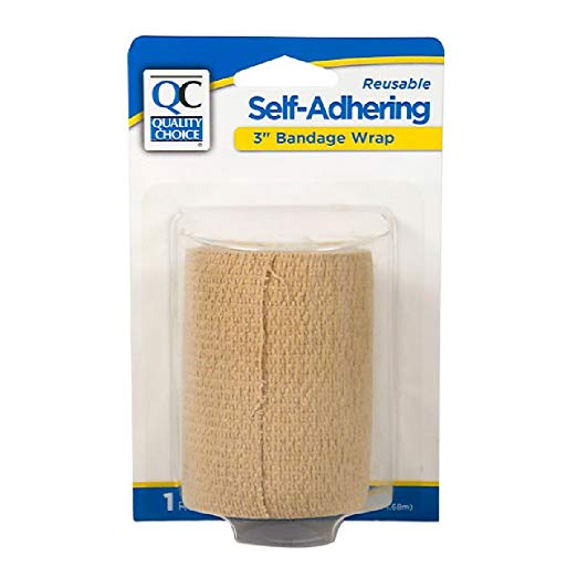 Quality Choice 3 Inch Self Adhering Reusable Bandage Wrap 1 Roll Each