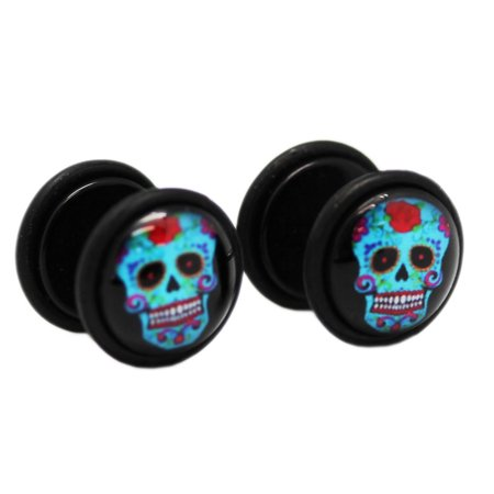 Colorful Blue Frankenstein Head Screw On Cheater Plugs (1 mm, 18 Gauge) - 2 Piece](Frankenstein Head Piece)