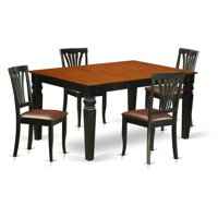 East West Furniture Weston 5 Piece Lath Back Dining Table Set