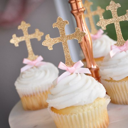 Christening Decorations. Ships in 1-3 Business Days. Baptism Cross Cupcake Toppers 12CT.](Christening Decorations)