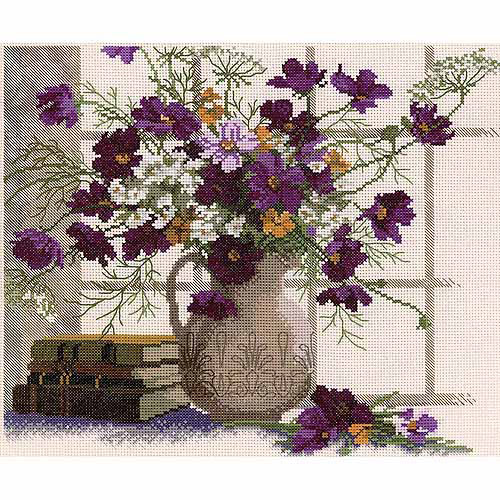"RTO Blooming Cosmos Counted Cross-Stitch Kit, 12-1/2"" x 10-5/8"", 14 Count"