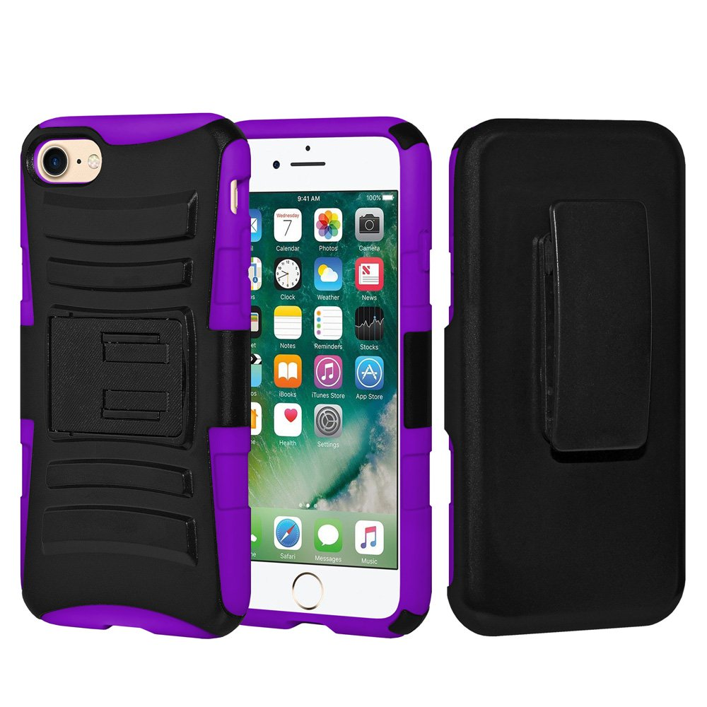 iPhone 7 Case Tempered Glass Combo Kit, Rugged TUFF Hybrid Dual Layer Hard Defender Case with Belt Clip Holster and Premium Protective Shockproof Screen Guard for iPhone 7 Black/ Dark Purple