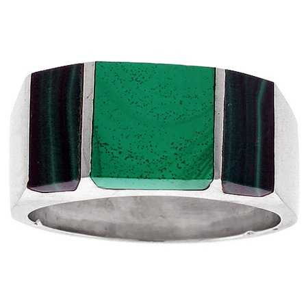 Sterling Silver Malachite Ring for Men Rectangular Striped Solid Back Handmade, sizes 9 - 13