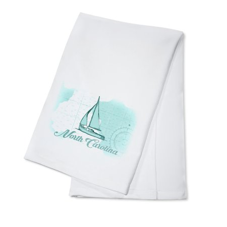 North Carolina - Sailboat - Teal - Coastal Icon - Lantern Press Artwork (100% Cotton Kitchen Towel) ()