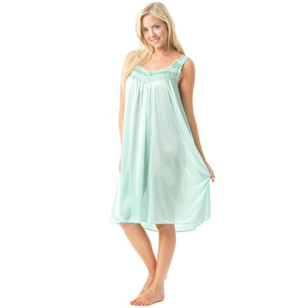 Women's Satin Lace Sleeveless Night Gown (Baby Blue Gown Women)