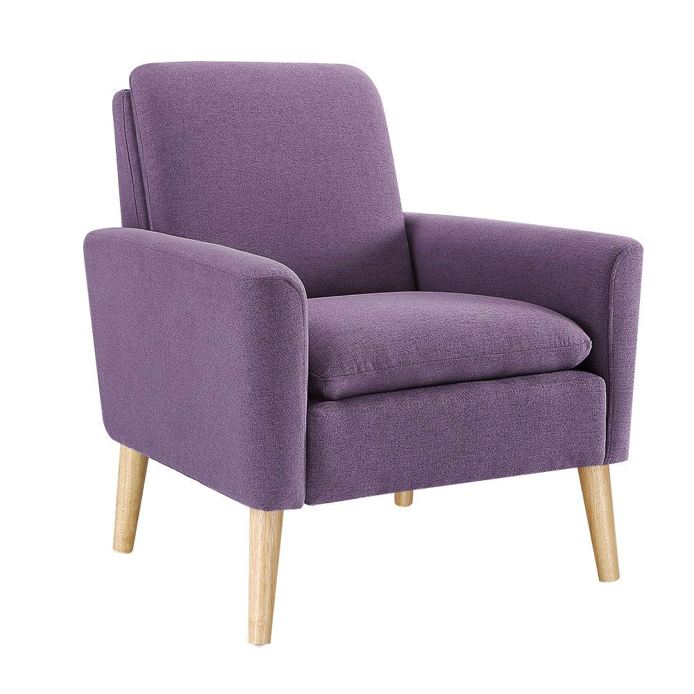purple accent furniture. Dazone Modern Accent Fabric Chair Single Sofa Comfy Upholstered Arm Living Room Furniture Black Purple