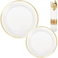 White Gold-Trimmed Premium Tableware Kit for 40 Guests, with Cutlery Sets
