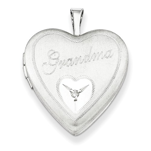 Sterling Silver 0.015ct 0.8IN Grandma with Diamond Heart Locket 18in Chain (0.7IN x 0.7IN) by Jewelrypot