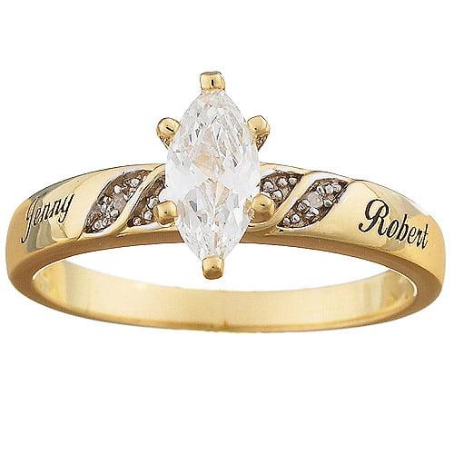 Personalized 2-Tone Marquise Cubic Zirconia & Diamond Name Wedding Ring