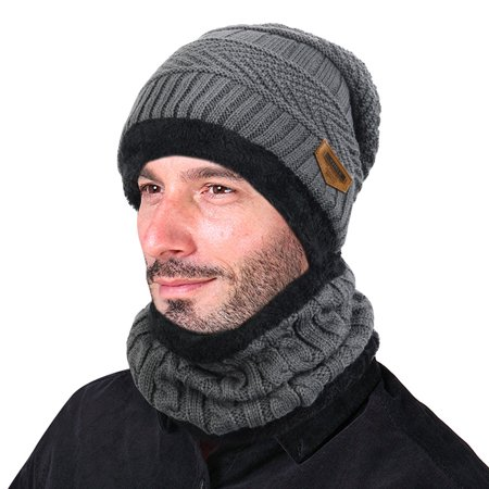 VBIGER Winter Beanie Hat Scarf Set Warm Knit Hat Thick Knit Skull Cap For Men (Warm Winter Visor Cap)