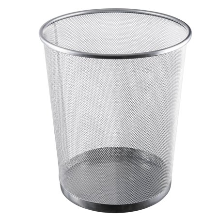 Ybm Home Silver Steel Mesh Round Open Top Waste Basket Wire Bin Trash Can for Office Kitchen Bathroom Home 4.75 Gallon (Office Trash)